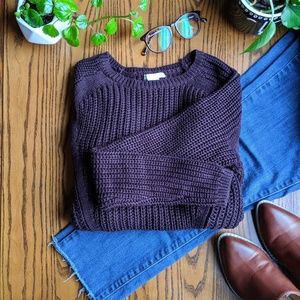 H&M Burgundy Chunky Knit Sweater